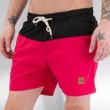 Block Swim Shorts red black