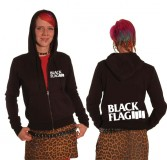 Black Flag - big logo (whiteprint) Kapu Zip Girl