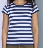 Stripy T Girl white blue