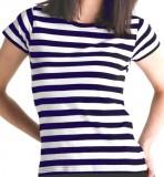 Stripy T Girl white navy